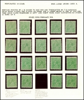 Lot 149 [2 of 3]:½d Green Comb Perf mint group of mainly singles, incl perf 'OS' x2 & Wmk inverted x7, several uncatalogued flaws noted, Cat $618. (47)