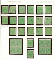 Lot 149 [3 of 3]:½d Green Comb Perf mint group of mainly singles, incl perf 'OS' x2 & Wmk inverted x7, several uncatalogued flaws noted, Cat $618. (47)