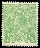 Lot 149 [1 of 3]:½d Green Comb Perf mint group of mainly singles, incl perf 'OS' x2 & Wmk inverted x7, several uncatalogued flaws noted, Cat $618. (47)
