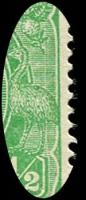 Lot 151 [2 of 5]:½d Green Comb Perf Electro 1 group of mint blocks and singles with catalogued varieties with Break in frame below Y of PENNY, Notch in bottom frame at SE corner, Vertical scratches through rights side of stamp (1L6, 1L12 x2, 1L18 x3), White flaw over T of AUSTRALIA, BW #63(1)d,e,f,g, Cat $1,080+. (6 items)