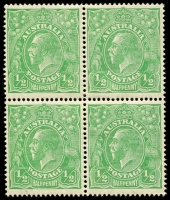 Lot 151 [1 of 5]:½d Green Comb Perf Electro 1 group of mint blocks and singles with catalogued varieties with Break in frame below Y of PENNY, Notch in bottom frame at SE corner, Vertical scratches through rights side of stamp (1L6, 1L12 x2, 1L18 x3), White flaw over T of AUSTRALIA, BW #63(1)d,e,f,g, Cat $1,080+. (6 items)