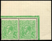 Lot 152 [1 of 4]:½d Green Comb Perf Electro 1 group of mint blocks and singles with catalogued varieties with White flaw in right wattles, White dash under left '1' in right value tablet and White spot over back of emu, BW #63(1)k,m,p, Cat $360+. (6 items)