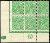 Lot 155:½d Green Comb Perf Electro 2 'JBC' Monogram block of 6 BW #63(2)z, monogram pair MUH. Fine and fresh, Cat $1,000++.