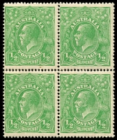Lot 153 [1 of 4]:½d Green Comb Perf Electro 2 group of mint blocks and singles incl catalogued varieties with No top to crown, White spot over P of PENNY, White marks in bottom frame and left value tablet and Scratches on King's beard and neck x2, also marginal gutter block of 4, BW #63(2)i,j,l,m, Cat $400+. (9 items)
