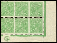 Lot 157:½d Green Comb Perf Electro 3 'JBC' Monogram block of 6 BW #63(3)zb, monogram pair MUH. Fine, fresh and rare, Cat $13,500++.