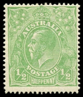 Lot 156 [1 of 2]:½d Green Comb Perf Electro 3 two plated singles (3L2 & 3R52). Rare (2)