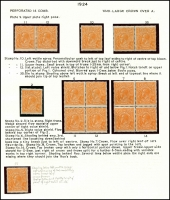 Lot 178 [4 of 4]:½d Orange Electro 8 mint group of plated blocks and singles, incl 8 catalogued varieties with some duplication, BW #66(8)d,e,f,h,p,q,r,s, Cat $450++. Neatly mounted on annotated pages. (12 items)