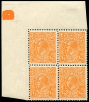 Lot 178 [1 of 4]:½d Orange Electro 8 mint group of plated blocks and singles, incl 8 catalogued varieties with some duplication, BW #66(8)d,e,f,h,p,q,r,s, Cat $450++. Neatly mounted on annotated pages. (12 items)