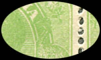 "Lot 165 [2 of 2]:½d Very Yellow ""Cyprus"" Green Comb Perf Electro 6 marginal block of 8 (4x2), Headless emu (retouch), Neckless emu (retouch), Retouched shading behind King's head, and White flaw under left side of right value shield, BW #63H(6)h,i,j,k, several units re-inforced, Cat $600++ as normal stamps."
