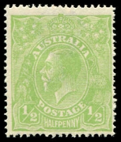 "Lot 164 [3 of 4]:½d Very Yellow ""Cyprus"" Green Comb Perf Electro 6 Retouched shading behind King's head in block of 4, BW #63H(6)g, plus 2 singles, Cat $450++ as normal stamps. (6)"
