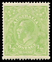 "Lot 164 [4 of 4]:½d Very Yellow ""Cyprus"" Green Comb Perf Electro 6 Retouched shading behind King's head in block of 4, BW #63H(6)g, plus 2 singles, Cat $450++ as normal stamps. (6)"