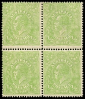 "Lot 164 [1 of 4]:½d Very Yellow ""Cyprus"" Green Comb Perf Electro 6 Retouched shading behind King's head in block of 4, BW #63H(6)g, plus 2 singles, Cat $450++ as normal stamps. (6)"