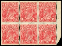 Lot 276 [2 of 4]:1½d Red Die I Electro 23 2 booklet panes of 6 (one with AUSTRALLA variety) and pane of 9 (1½ panes) from 2/3d Booklet (#B30 cat $4,000 as complete booklet), all MUH and with same even gum toning. Neatly mounted on annotated page.