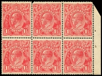 Lot 276 [4 of 4]:1½d Red Die I Electro 23 2 booklet panes of 6 (one with AUSTRALLA variety) and pane of 9 (1½ panes) from 2/3d Booklet (#B30 cat $4,000 as complete booklet), all MUH and with same even gum toning. Neatly mounted on annotated page.