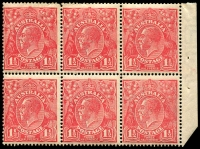 Lot 286 [2 of 3]:1½d Red Die I Electro 27 3 booklet panes of 6 from 2/3d Booklet (#B30 cat $4,000 as complete booklet), 2 panes are electro 27, so presumably the third is, all MUH and with same even gum toning. Neatly mounted on annotated page.