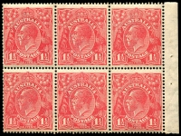 Lot 286 [3 of 3]:1½d Red Die I Electro 27 3 booklet panes of 6 from 2/3d Booklet (#B30 cat $4,000 as complete booklet), 2 panes are electro 27, so presumably the third is, all MUH and with same even gum toning. Neatly mounted on annotated page.