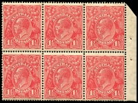 Lot 286 [1 of 3]:1½d Red Die I Electro 27 3 booklet panes of 6 from 2/3d Booklet (#B30 cat $4,000 as complete booklet), 2 panes are electro 27, so presumably the third is, all MUH and with same even gum toning. Neatly mounted on annotated page.