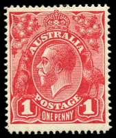 Lot 164:1d Carmine-Red (G1) Line Perf variety Dot before right '1' [VI/21] BW #70(3)f, fine mint, Cat $750.