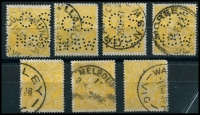 Lot 261 [2 of 2]:4d Lemon-Yellow Perf 'OS/NSW' x5 BW #110(C)b, plus 3 non-perfed normals, used, Cat $245+ as normal. (8)