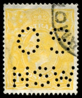 Lot 261 [1 of 2]:4d Lemon-Yellow Perf 'OS/NSW' x5 BW #110(C)b, plus 3 non-perfed normals, used, Cat $245+ as normal. (8)