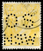 Lot 262:4d Lime-Yellow Perf 'OS/NSW' light crease, Cat $600 as normal.