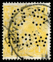 Lot 263 [2 of 4]:4d Lime-Yellow Perf 'OS/NSW' x3 plus un-perfed normal, messy cancels, Cat $1,200 as all normal. (4)
