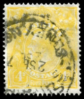 Lot 263 [4 of 4]:4d Lime-Yellow Perf 'OS/NSW' x3 plus un-perfed normal, messy cancels, Cat $1,200 as all normal. (4)