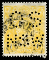 Lot 263 [1 of 4]:4d Lime-Yellow Perf 'OS/NSW' x3 plus un-perfed normal, messy cancels, Cat $1,200 as all normal. (4)