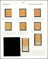 Lot 311 [2 of 4]:4d Orange mint group of plated single and block of 4, minor duplication, incls a number of catalogued flaws, BW #110(1)k,p,(2)d,f,n,o,t,v,va,vf, Cat $1,560 just for catalogued flaws. (24)