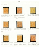 Lot 311 [4 of 4]:4d Orange mint group of plated single and block of 4, minor duplication, incls a number of catalogued flaws, BW #110(1)k,p,(2)d,f,n,o,t,v,va,vf, Cat $1,560 just for catalogued flaws. (24)