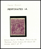 Lot 315 [6 of 7]:4d Violet mint group of plate 2 plated stamps, a number of catalogued flaws, BW #111(2)f,g,l,p,t,vb,vg, Cat $1,825++. Useful group (22)