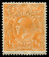 Lot 395 [6 of 9]:½d Orange Electro 8 mint group of plated blocks and singles, incl 6 catalogued varieties with some duplication, BW #67(8)d,e,f,g,r,s, Cat $600++. Neatly mounted on annotated pages. (14 items)