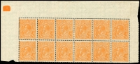 Lot 395 [1 of 9]:½d Orange Electro 8 mint group of plated blocks and singles, incl 6 catalogued varieties with some duplication, BW #67(8)d,e,f,g,r,s, Cat $600++. Neatly mounted on annotated pages. (14 items)