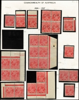 Lot 414 [2 of 4]:1½d Red Die II mint group of shades and plated singles and blocks, includes several catalogued varieties, some duplication, noted Plate 2 Mullett imprint pair and Ash imprint block of 4, plate number block of 4, pair and single also plate 3 pair with stamps officially substituted, block of 4 and pair Wmk inverted, BW #91(2)e,f,h,zh,(3)d,f,g,i, Cat $985++ just for varieties. (28 items)