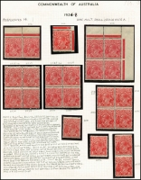 Lot 414 [3 of 4]:1½d Red Die II mint group of shades and plated singles and blocks, includes several catalogued varieties, some duplication, noted Plate 2 Mullett imprint pair and Ash imprint block of 4, plate number block of 4, pair and single also plate 3 pair with stamps officially substituted, block of 4 and pair Wmk inverted, BW #91(2)e,f,h,zh,(3)d,f,g,i, Cat $985++ just for varieties. (28 items)