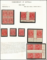 Lot 414 [4 of 4]:1½d Red Die II mint group of shades and plated singles and blocks, includes several catalogued varieties, some duplication, noted Plate 2 Mullett imprint pair and Ash imprint block of 4, plate number block of 4, pair and single also plate 3 pair with stamps officially substituted, block of 4 and pair Wmk inverted, BW #91(2)e,f,h,zh,(3)d,f,g,i, Cat $985++ just for varieties. (28 items)