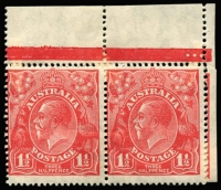 Lot 414 [1 of 4]:1½d Red Die II mint group of shades and plated singles and blocks, includes several catalogued varieties, some duplication, noted Plate 2 Mullett imprint pair and Ash imprint block of 4, plate number block of 4, pair and single also plate 3 pair with stamps officially substituted, block of 4 and pair Wmk inverted, BW #91(2)e,f,h,zh,(3)d,f,g,i, Cat $985++ just for varieties. (28 items)