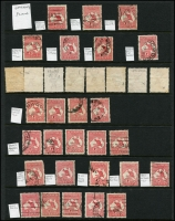 Lot 2 [3 of 6]:1d Red selection of mainly plated stamps, many uncatalogued, but noted 2(C)h,j, 3(F)f,g, 4(G)o. Also selection of unplated flaws and perfins etc. (c.300)
