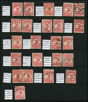 Lot 2 [5 of 6]:1d Red selection of mainly plated stamps, many uncatalogued, but noted 2(C)h,j, 3(F)f,g, 4(G)o. Also selection of unplated flaws and perfins etc. (c.300)