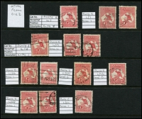 Lot 2 [6 of 6]:1d Red selection of mainly plated stamps, many uncatalogued, but noted 2(C)h,j, 3(F)f,g, 4(G)o. Also selection of unplated flaws and perfins etc. (c.300)