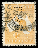 Lot 14:4d Orange perfed 'F&G' downwards (Foy & Gibson Perth), small tear, Rare.