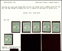 Lot 131 [2 of 2]:1/- Emerald Die IIB mint group of singles, incl perf 'OS' and unplated varieties x2 (7)