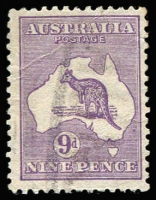 Lot 202:9d Violet Die IIB [3R39] Coloured flaw near right frame opposite Sydney etc.