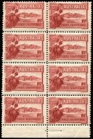 Lot 544 [3 of 7]:1927 1½d Canberra mint group with perf 'OS' x1, Weak shading in right frame, Flag half-mast on flagpole at right in corner block of 4, Flaw in top of first A of AUSTRALIA in booklet pane, booklet panes x2 and complete booklet, BW #132,B38, fresh mint, Cat $325++. (10 items)