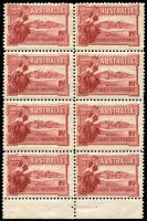 Lot 544 [4 of 7]:1927 1½d Canberra mint group with perf 'OS' x1, Weak shading in right frame, Flag half-mast on flagpole at right in corner block of 4, Flaw in top of first A of AUSTRALIA in booklet pane, booklet panes x2 and complete booklet, BW #132,B38, fresh mint, Cat $325++. (10 items)