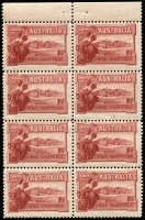 Lot 544 [1 of 7]:1927 1½d Canberra mint group with perf 'OS' x1, Weak shading in right frame, Flag half-mast on flagpole at right in corner block of 4, Flaw in top of first A of AUSTRALIA in booklet pane, booklet panes x2 and complete booklet, BW #132,B38, fresh mint, Cat $325++. (10 items)