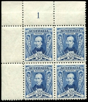 Lot 556 [2 of 4]:1930 Sturt mint collection incl imprint pairs, 2 plate number pairs (1 to 8) and 3d plate number blocks of 4 (1 & 2 (MUH)). (19 items)