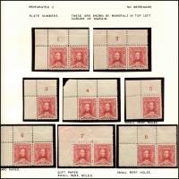 Lot 556 [4 of 4]:1930 Sturt mint collection incl imprint pairs, 2 plate number pairs (1 to 8) and 3d plate number blocks of 4 (1 & 2 (MUH)). (19 items)