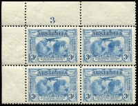 Lot 558 [2 of 6]:1931 Kingsford Smith 2d & 3d mint collection incl imprint pairs, 2d plate number blocks of 4 (1 to 8) and 3d plate number blocks of 4 (1 to 3). (17 items)