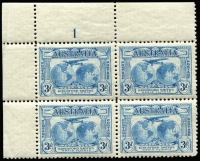 Lot 558 [3 of 6]:1931 Kingsford Smith 2d & 3d mint collection incl imprint pairs, 2d plate number blocks of 4 (1 to 8) and 3d plate number blocks of 4 (1 to 3). (17 items)